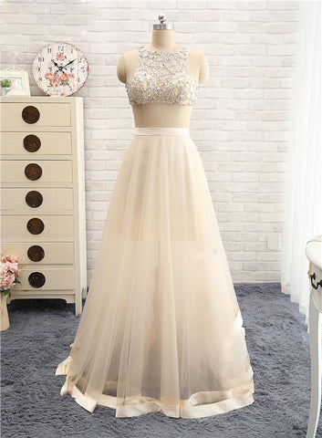 Champagne Sexy Two Piece Prom Dress