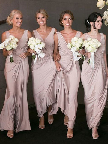 V-neck Sleeveless Pink Chiffon Bridesmaid Dresses