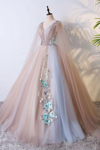 Tulle V Neck Appliques Champagne Long Sleeves Flower Prom Dress