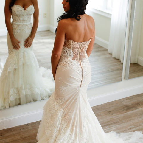 Elegant Mermaid Wedding Dress - Sweetheart Sleeveless Appliques Lace Tiered