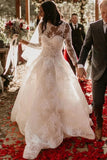 See Through A Line Long Sleeve Sheer Neck Wedding Dress
