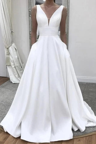 Satin A Line Elegant Plunging Neck Wedding Dress With Pocket