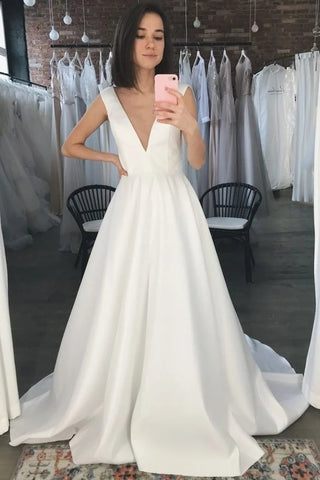 A Line Sweep Train Simple V Neck Satin Wedding Dress