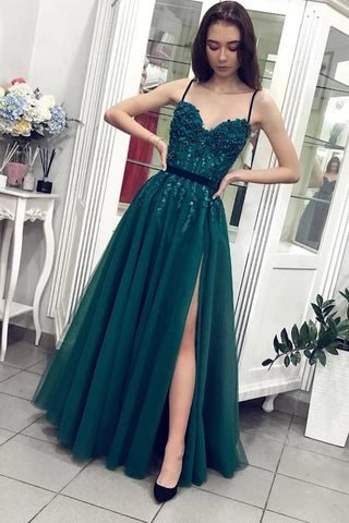 Spaghetti Straps Tulle Dark Green Appliques Belt Prom Dress