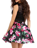 Beautiful Floral Print Two Piece Homecoming Dresses