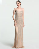 Gold Straps Mermaid Diamond Evening Dress