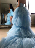 Sweetheart Sweet Blue Tulle Hi Lo Prom Dress With Long Train