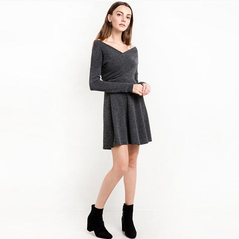 Gray Long Sleeve Short Dress