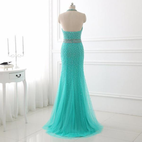 Turquoise Blue Backless Halter Pearls Mermaid Prom Dress