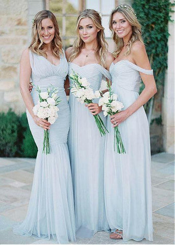 Pretty Silk-like Chiffon Off-the-shoulder Neckline A-line Bridesmaid Dresses