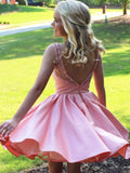 Pink Satin Beading Backless Knee-Length Homecoming Dress