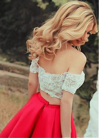 Tulle & Satin Off-the-shoulder A-line Two-piece Prom Dresses With Lace Appliques