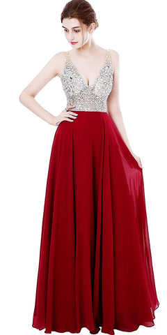 Red Deep V-neck Beaded Jewelry Prom Dress