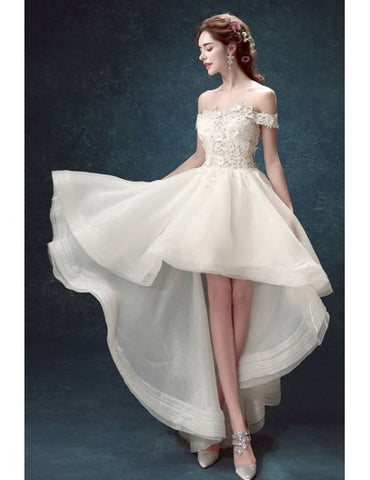 Off-the-shoulder Lace Up High Low Ruffles Tulle Wedding Dress
