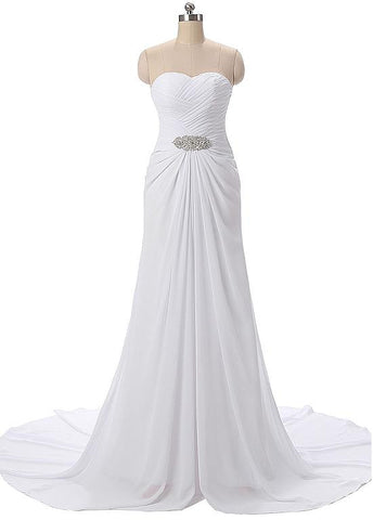 Flowing Chiffon Sweetheart Neckline Sheath Eveing Dresses With Beads