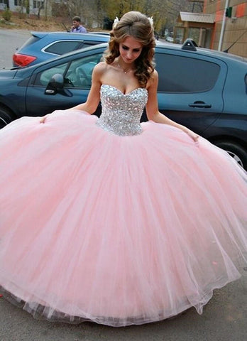 Sweetheart Crystals Strapless Ball Gown Quinceanera Dress