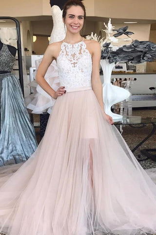 White Appliques Tulle High Low Champagne Halter Prom Dress