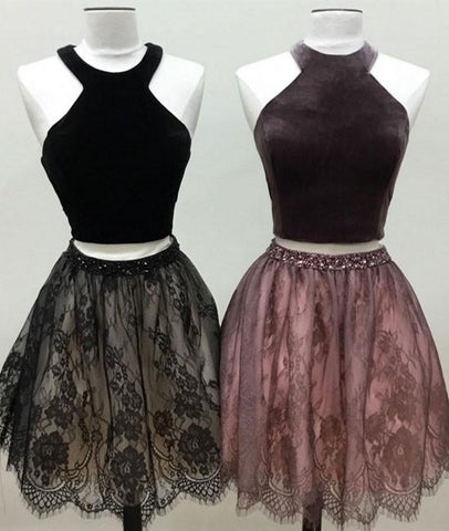 Pretty Sample Halter Velet Two Pieces Lace Short Prom Dress