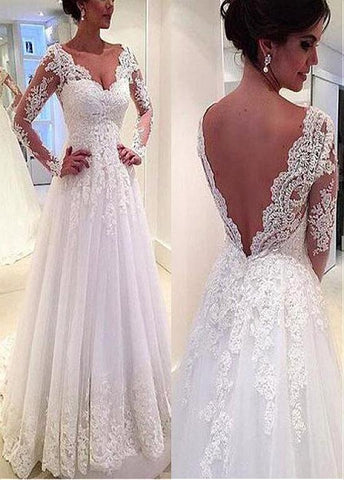 Tulle V-neck Neckline Natural Waistline A-line Wedding Dress With Beaded Lace Appliques