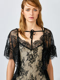 Flounced See-Through Lace Dress