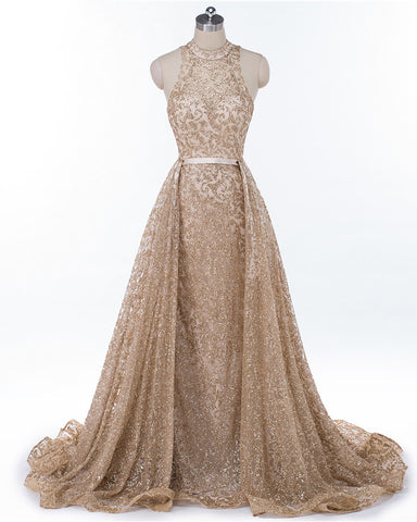 Gold High Neck Mermaid Sequin Prom Dress