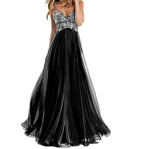 Long Chiffon Lace Appliques Evening Prom Dress