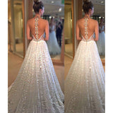 Delicate A-line Wedding Dress - Lace Sequined Jewel Sweep Train Illusion Back