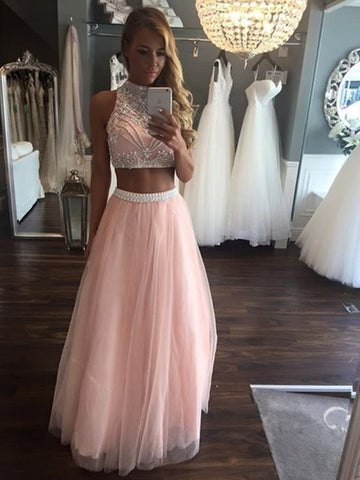 High Neck Two Pieces Beading Tulle Long Pink A Line Prom Dress
