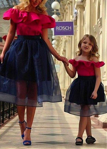 Organza & Satin Off-the-shoulder Neckline Tea-length A-line Mother and Daughter Dress With Ruffles