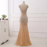 V Neck Crystal Mermaid Gold Raining Effect Dress
