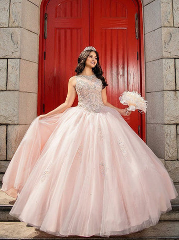 Ball Gown Bateau Pink Tulle Quinceanera Dress with Beading
