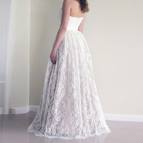 A-Line Sweetheart Floor-Length Lace Wedding Dress with Sash