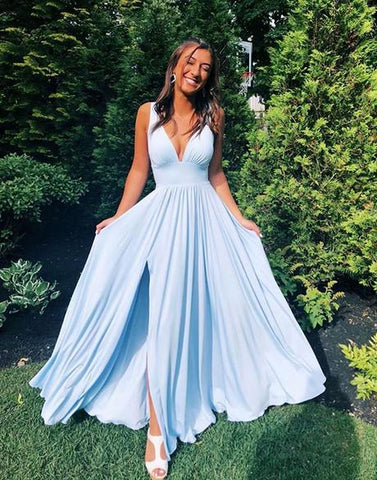V Neck Elastic Satin Pleats High Slit Blue Prom Dress