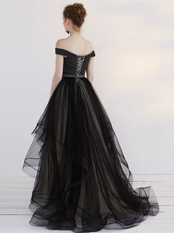 Black A-Line Off-the-Shoulder Pleats Sashes Court Train Evening Dress