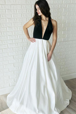 Satin Long Backless White and Black V Neck Prom Dress