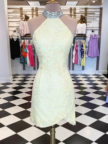 Short Backless Yellow Lace Backless Sheath Column Homecoming Dress