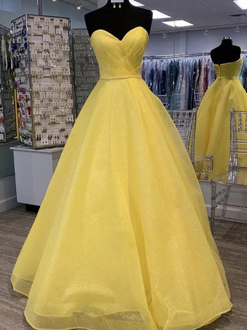 Open Back Tulle Beautiful Strapless Sequins Yellow Prom Dress