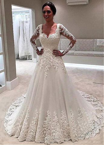Sweetheart Beadings A-line Wedding Dress With Lace Appliques