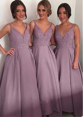 Sparkly Tulle & Satin V-neck Neckline Full Length A-line Bridesmaid Dresses With Beadings & Pocket