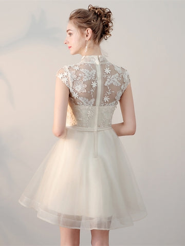 Elegant  High Neck Appliques Mini Homecoming Dress
