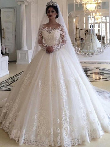 Ball Gown Tulle Applique Off-the-Shoulder Long Sleeves Long Wedding Dress