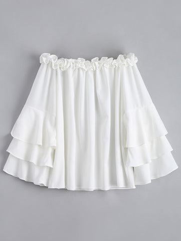 Ruffle Trim Tiered Flare Sleeve Blouse White
