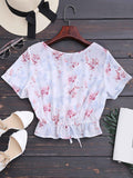 White Chiffon Cropped Floral Ruffles Top