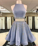Sparkle Blue Two Pieces Beads Sequin Short Prom Homecoming Dress