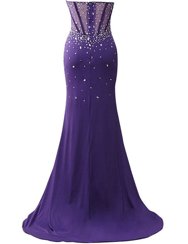 corset style bodice strapless crystals evening dress