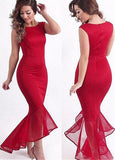 Charming Acetate Satin Bateau Neckline Hi-lo Mermaid Evening Dress
