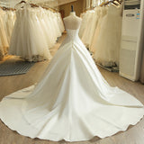 Simple Embroidery Satin Wedding Dress