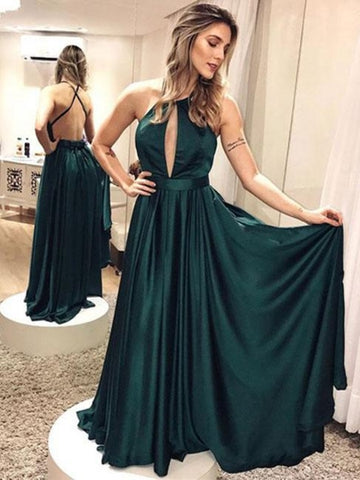 A-Line Halter Sashes Backless Floor-Length Evening Dress