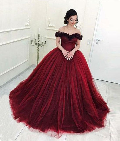Burgundy Off Shoulder Tulle Long Prom Dress