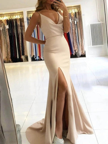 Backless Satin Champagne Mermaid V Neck Prom Dresses with Slit